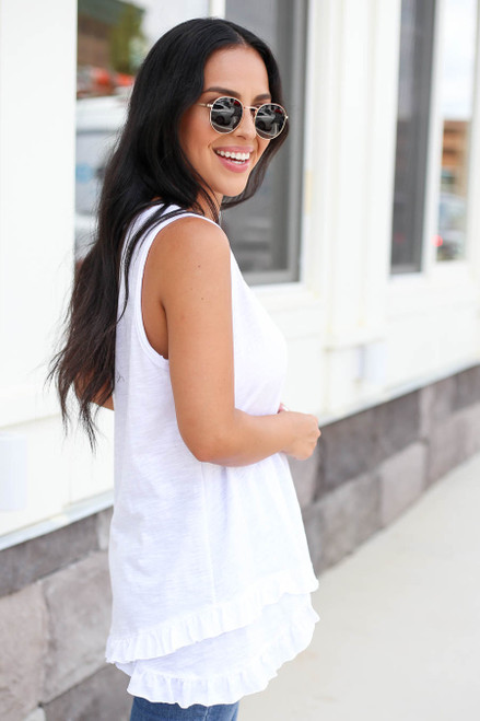 White - Ruffled Tank Top Side View