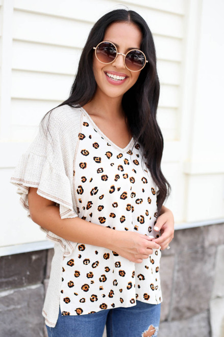Model wearing Leopard Print and  Waffle Knit Contrast Top Side View