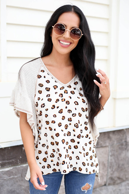 Model wearing Leopard Print and  Waffle Knit Contrast Top Front View