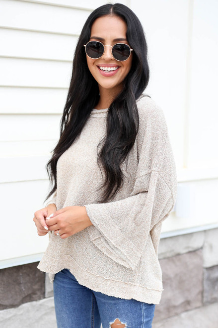 Taupe - Knit Tie Back Wide Sleeve Top
