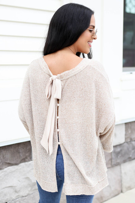 Taupe - Knit Tie Back Wide Sleeve Top Back View
