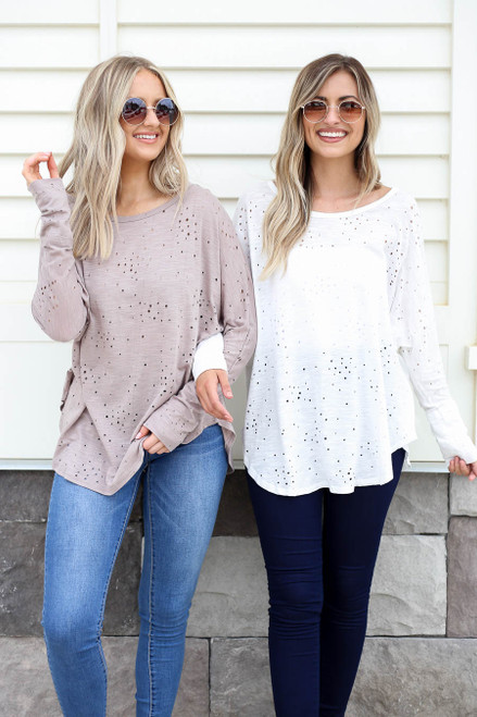 Ivory - and Mocha Distressed Oversized Top