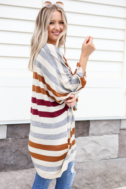 Multi - Striped Long Sleeve Cardigan Side View