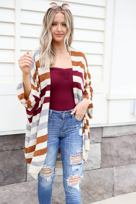Multi - Striped Long Sleeve Cardigan