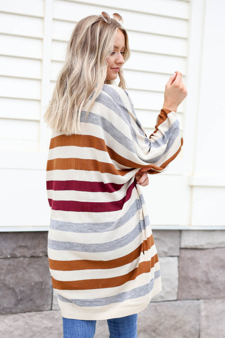 Model wearing Multi-Color Striped Long Sleeve Cardigan Back View