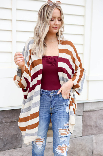 Model wearing Multi-Color Striped Long Sleeve Cardigan Front View