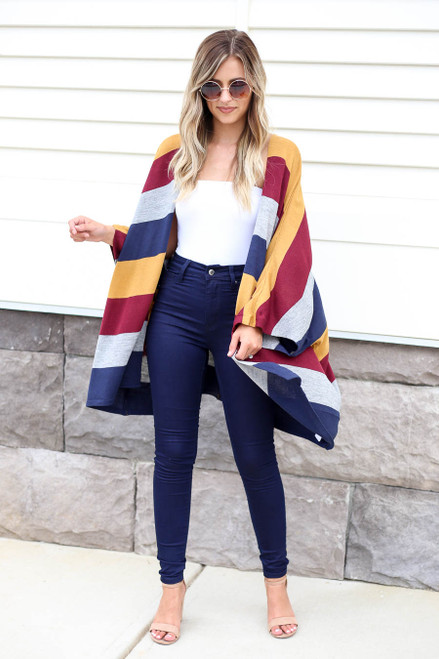 Multi - Thick Striped Knit Batwing Cardigan Full View