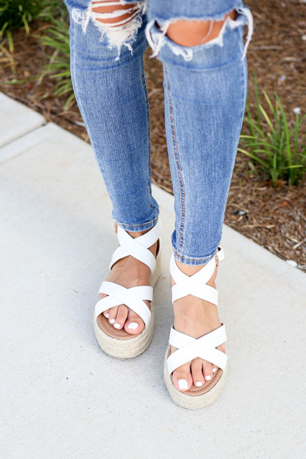 White Criss Cross Strap Platform Espadrilles on Model