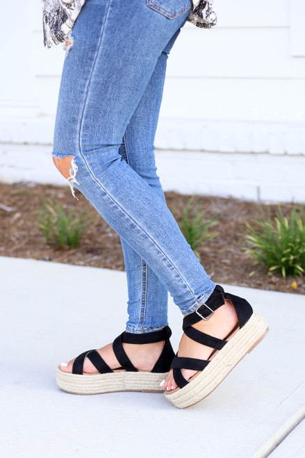 Black Criss Cross Strap Platform Espadrilles on Model Side View