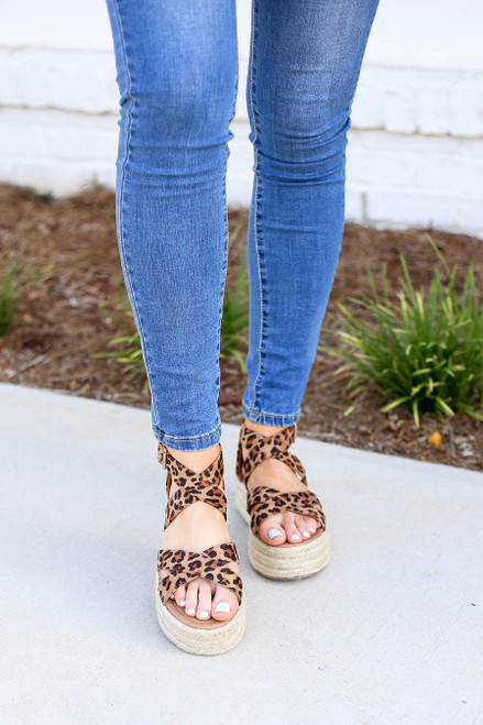 Leopard Criss Cross Strap Platform Espadrilles on Model Front View
