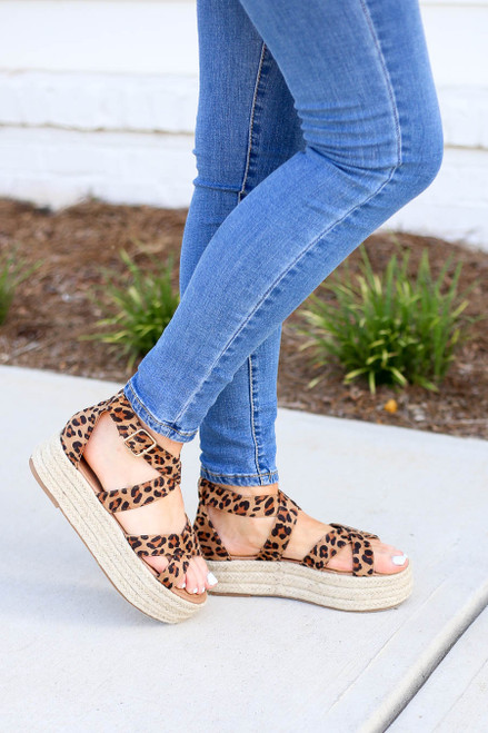 Leopard - Criss Cross Strap Platform Espadrilles on Model