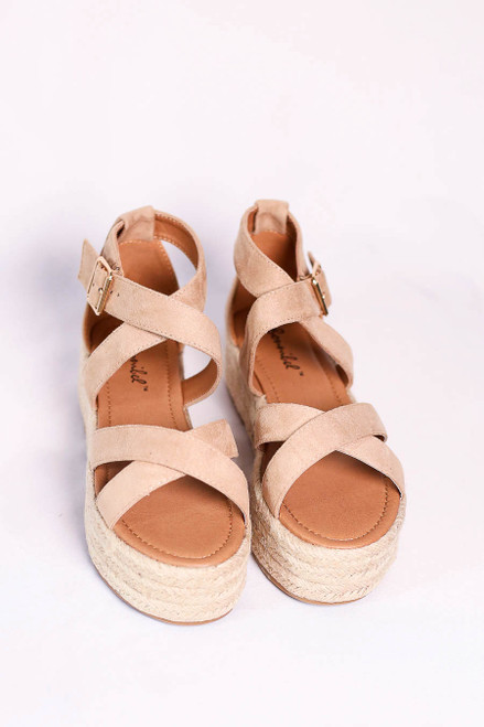 Natural Criss Cross Strap Platform Espadrilles on Flat Lay