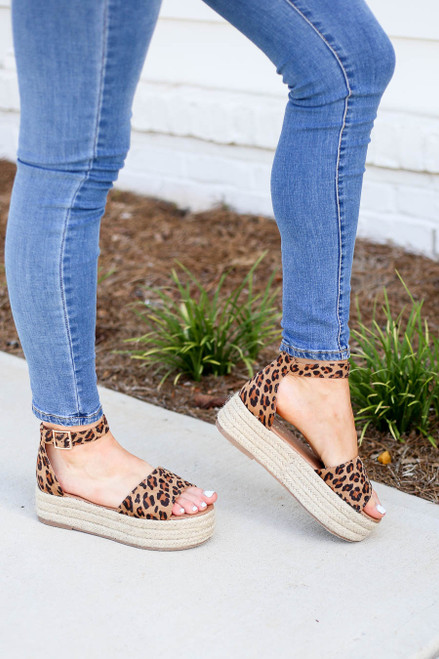 Leopard - Print Platform Espadrilles on Model