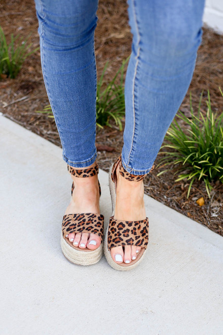 Leopard - Print Platform Espadrilles on Model Top View