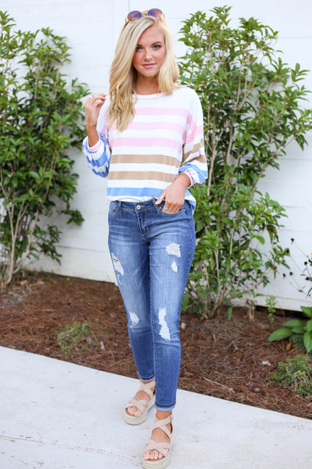 Blue - Multi Color Striped Balloon Sleeve Tee Full View
