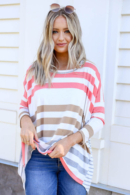 Coral - Contrast Stripe 3/4 Sleeve Top