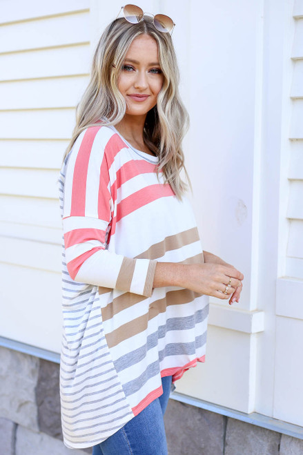 Coral - Contrast Stripe 3/4 Sleeve Top Side View