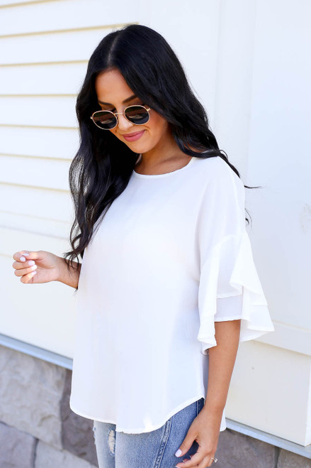 Ivory - Ruffle Sleeve Blouse Side View