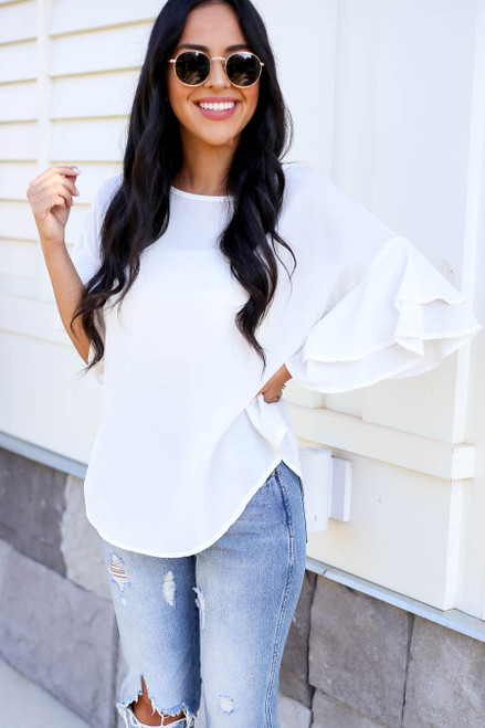 Model wearing White Ruffle Sleeve Blouse Front View