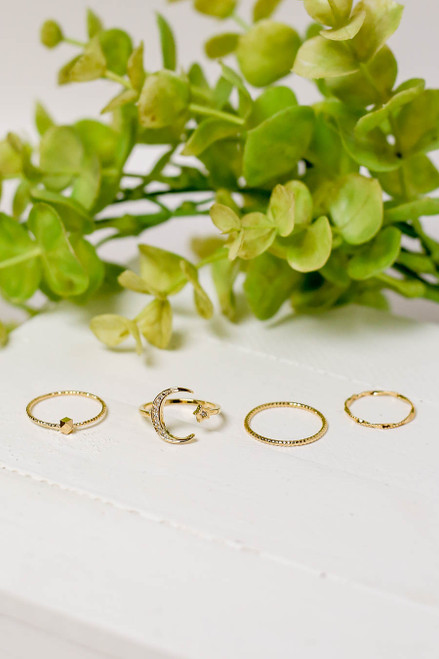 Gold - Moon Ring Set