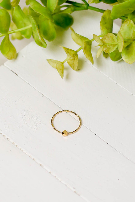 Gold Basic Ring with Charm