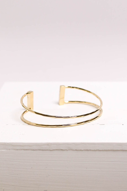 Gold - Hammered Cuff Bracelet Flat Lay