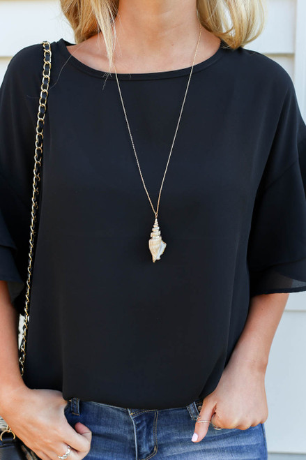 Gold - Conch Shell Necklace