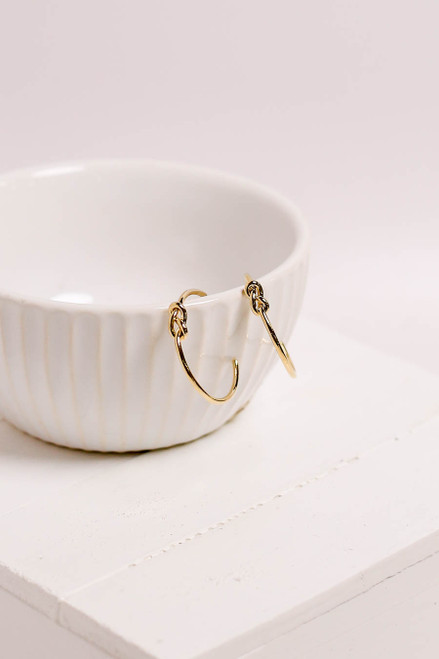 Gold - Knotted Hoop Earrings Flat Lay