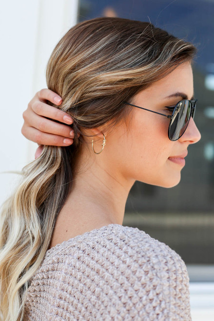 Gold - Knotted Hoop Earrings on Model