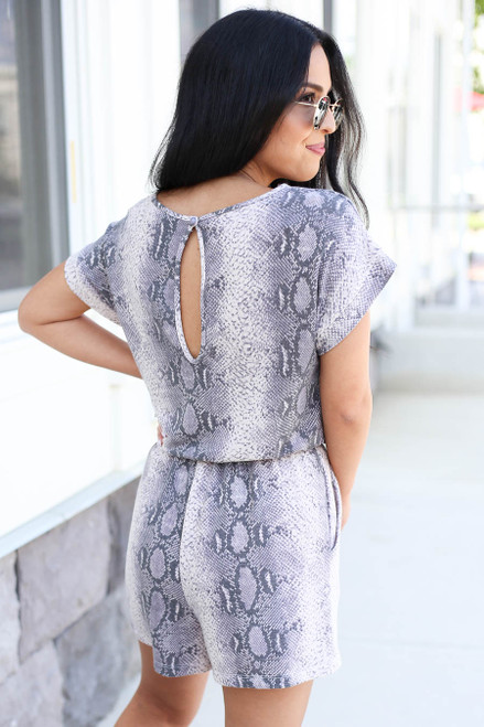Grey - Snakeskin Soft Knit Romper Back View