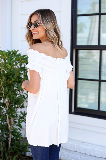 White - Off the Shoulder Ruched Top Back View