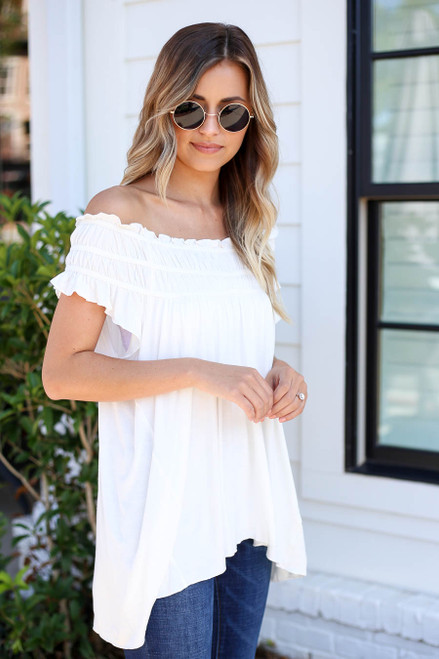 Model wearing White Off the Shoulder Ruched Top Side View