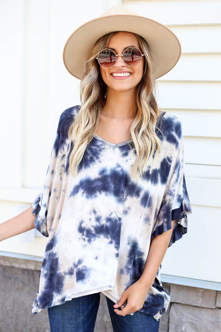 Navy - Ruffle Sleeve Tie-Dye Top