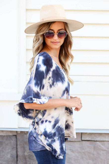 Navy - Ruffle Sleeve Tie-Dye Top Side View