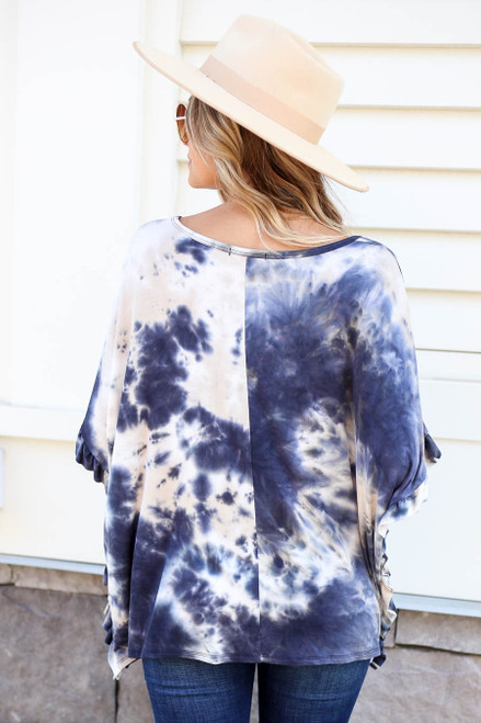 Model wearing Navy Ruffle Sleeve Tie-Dye Top Back View