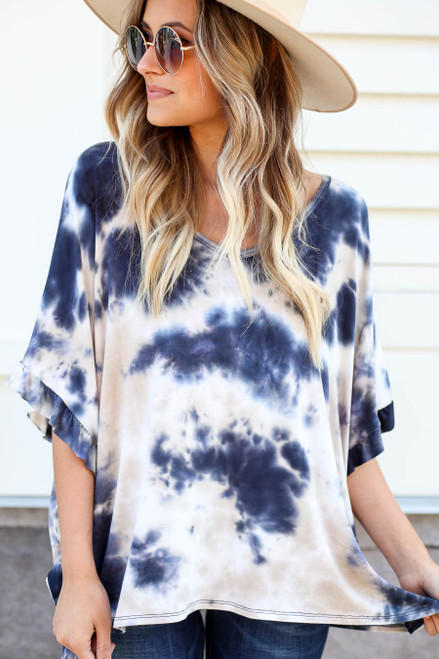 Model wearing Navy Ruffle Sleeve Tie-Dye Top Detail View