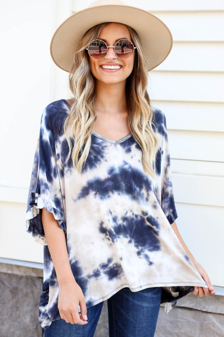 Model wearing Navy Ruffle Sleeve Tie-Dye Top Front View
