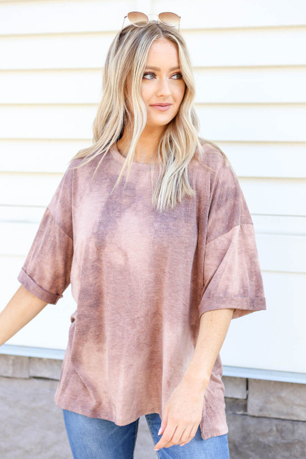 Brown - Acid Wash Oversized Tee