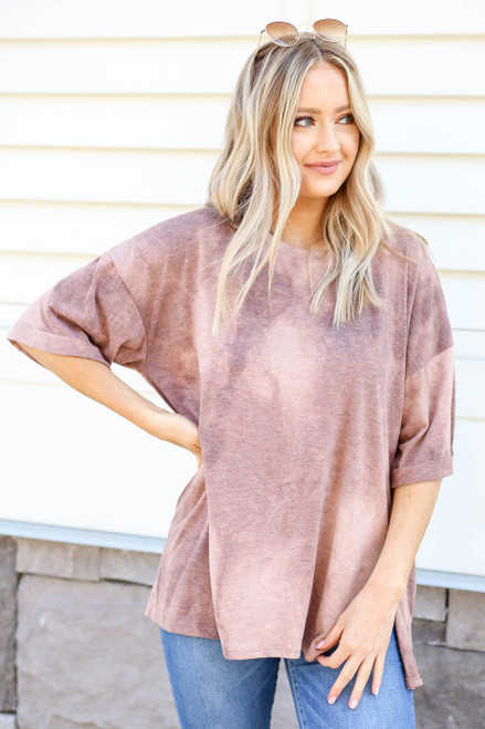Model wearing Brown Acid Wash Oversized Tee Front View