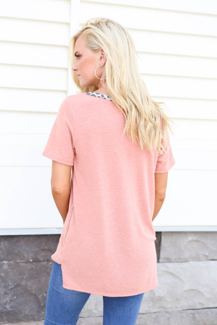 Model wearing Peach and Leopard Print Contrast  V-Neck Ringer Tee Back View