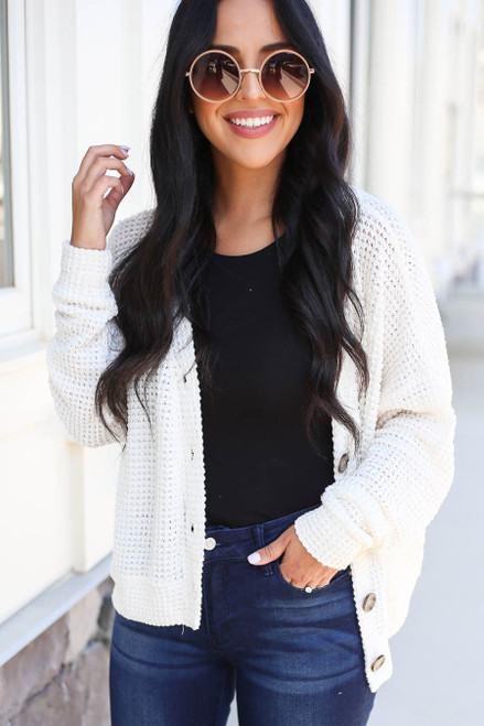 Model wearing Ivory Button Front Lightweight Waffle Knit Cardigan