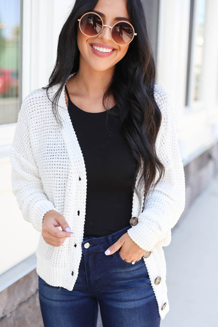 Ivory - Button Front Lightweight Waffle Knit Cardigan Front View