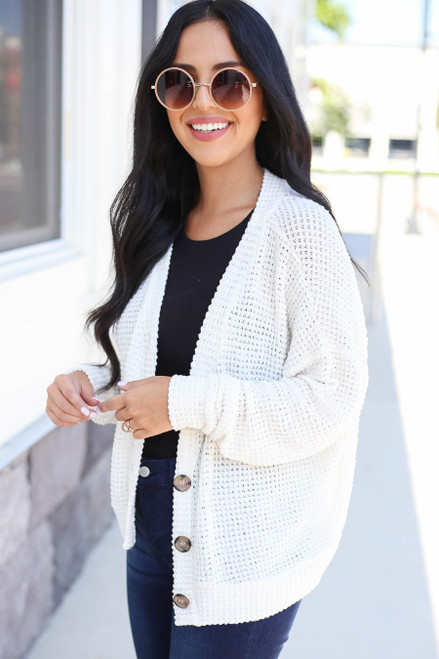 Ivory - Button Front Lightweight Waffle Knit Cardigan Sid View