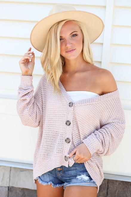 Blush - Button Front Lightweight Waffle Knit Cardigan