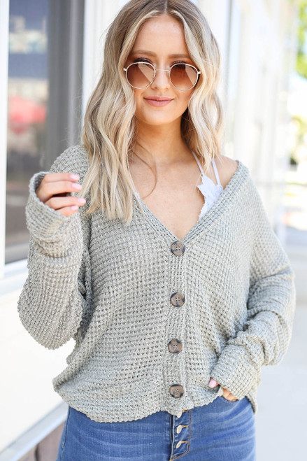 Olive - Button Front Lightweight Waffle Knit Cardigan