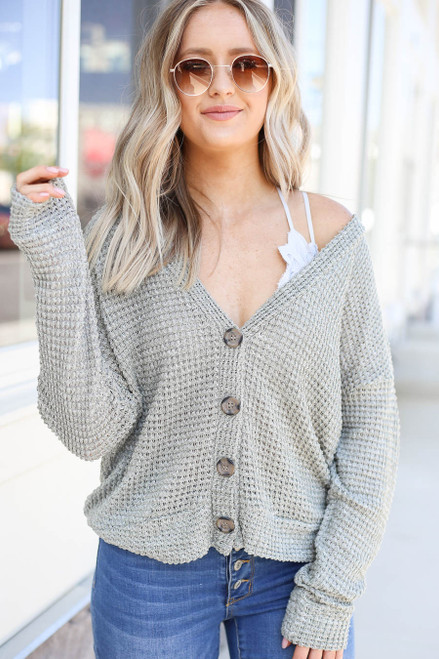 Model wearing Olive Button Front Lightweight Waffle Knit Cardigan