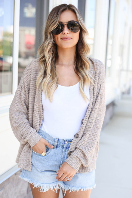 Taupe - Button Front Lightweight Waffle Knit Cardigan
