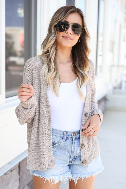 Model wearing Taupe Button Front Lightweight Waffle Knit Cardigan