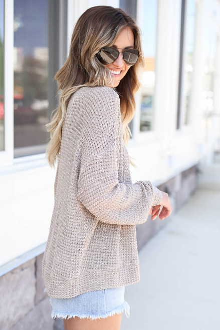 Model wearing Blush Button Front Lightweight Waffle Knit Cardigan Side View