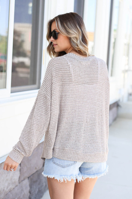 Taupe - Button Front Lightweight Waffle Knit Cardigan Back View